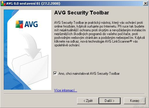 AVG 8.0 - instalace AVG Security Toolbar