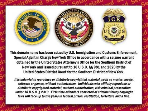 Stránka informující o zabavení domény americkými úřady