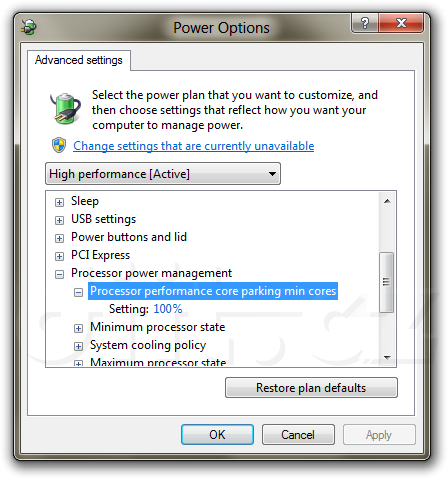 Core Parking settings enabled in Advanced Power options in Windows 8