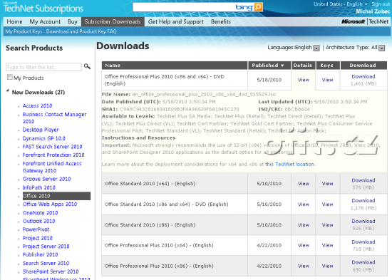 Office 2010 x64 Technet Subscription