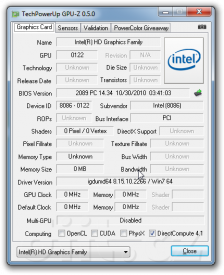 GPUZ 0.5.0: Intel HD Graphics 3000 v Core i7 2xxx