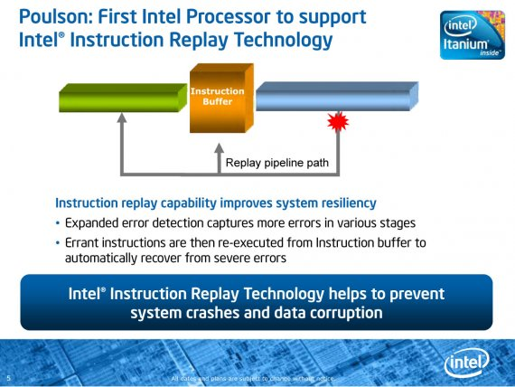 """Poulson"" Prezentace (5) - Poulson: First Intel Processor to support Intel Instruction Replay Technology"