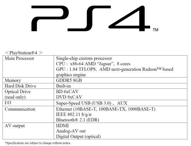 Sony Playstation 4 specifikace Q1 2013