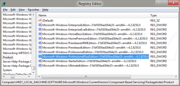 Varianty Windows 8 v Consumer Preview (v registru)
