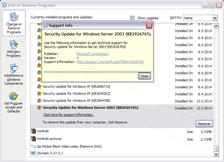 Aktualizace Kb 2926765 Nainstalovana Ve Windows Xp X 64