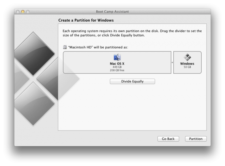 Apple Boot Camp Select Partition Size