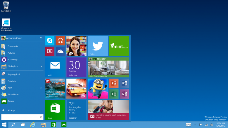 Windows 10 Tech Preview Start Menu