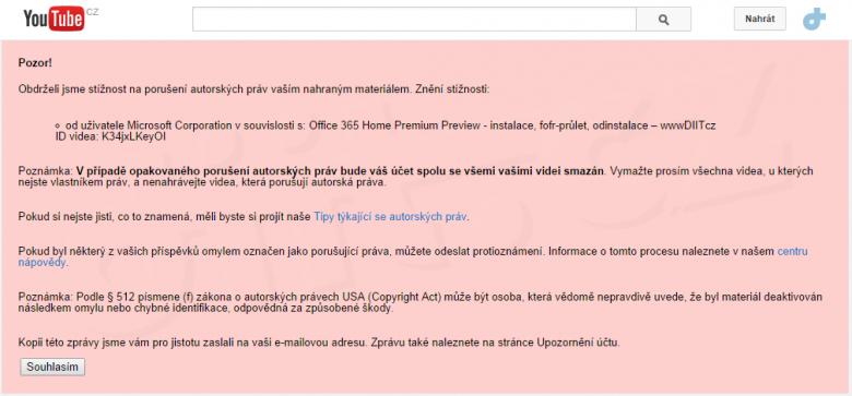 Youtube Upozorneni Na Pouruseni Autorskych Prav Od Uzivatele Microsoft Corporation V Souvislosti S Office 365 Home Premium Preview