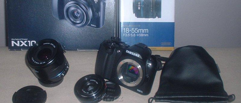 Samsung NX10, balení plus 18-55mm objektiv