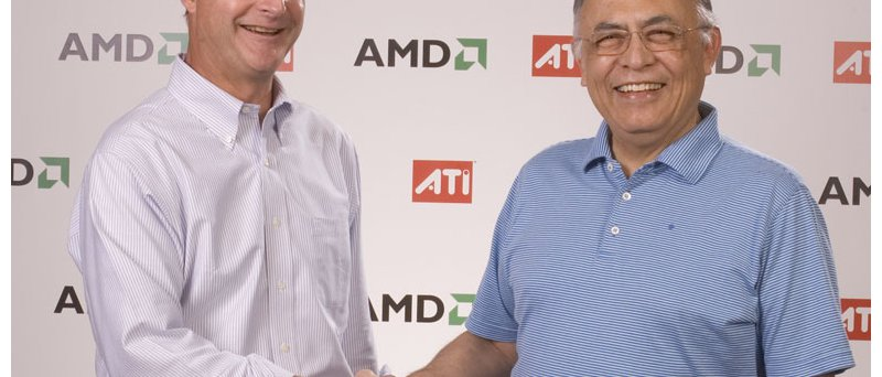 Šéfové ATI (Dave Orton) a AMD (Hector Ruiz) si podávají ruce u p