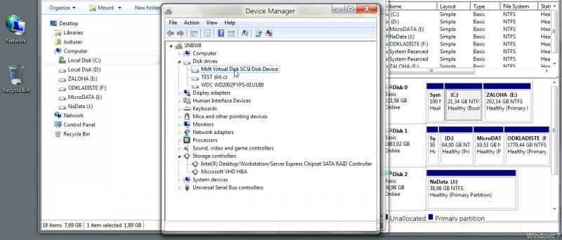"""""""Windows 8"""" - práce s virtuálními disky"""