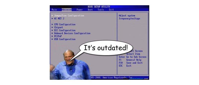 BIOS a Ballmer - It´s outdated (zdroj: http://www.windows8news.com/2011/09/21/windows-8-dual-boot-operations/)