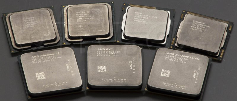 AMD FX-8150, AMD Phenom II X6 1100T, AMD A8-3850, Intel Core i7 870 (ES), Intel Core i7 2600K, Intel Pentium 4 HT 3,6 GHz, Intel Pentium 4 EE HT 3,46 GHz
