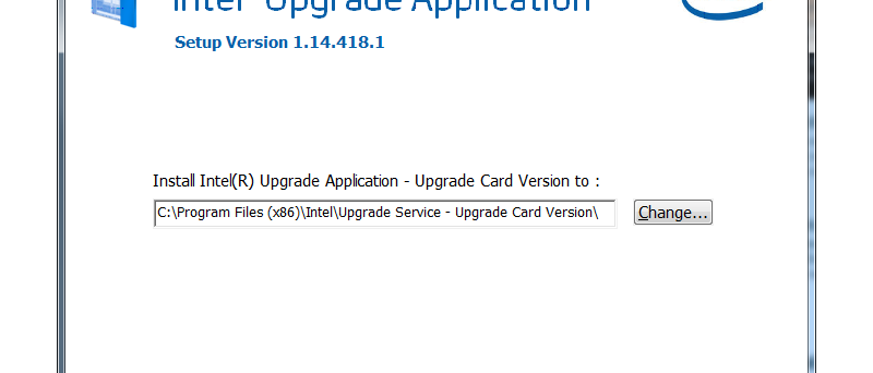 Intel Upgrade Application - instalace