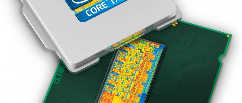 """Intel """"Sandy Bridge"""" (Core i7) s odklopeným tepelným rozvaděčem a jádrem (ilustrační obrázek)"""