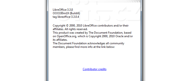LibreOffice 3 - About