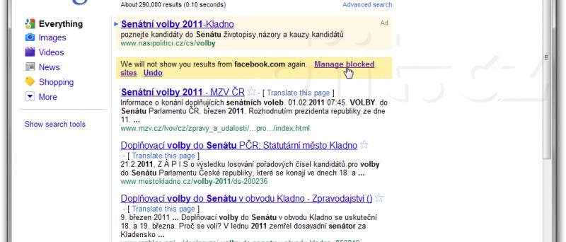 Google - informace o zablokovaném hledání