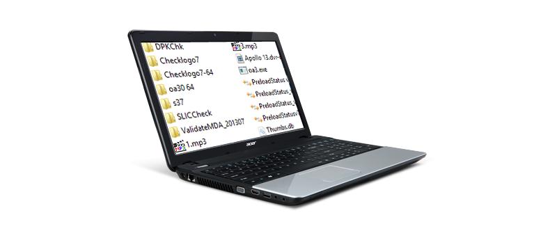 Acer E-Series se soubory