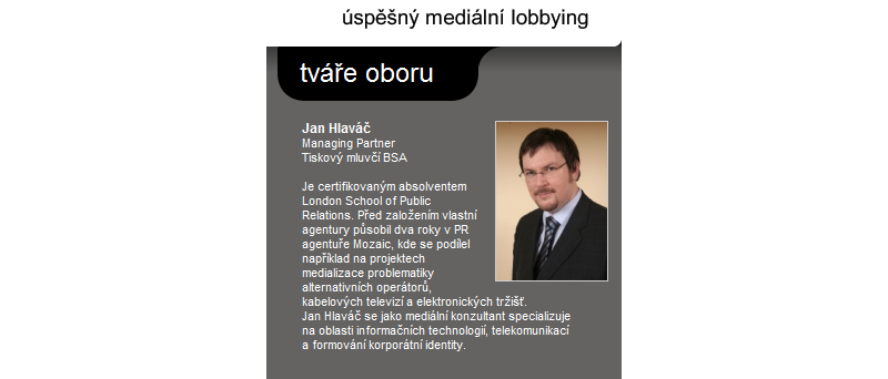 Výřez webu společnosti Mediakom - Jan Hlaváč