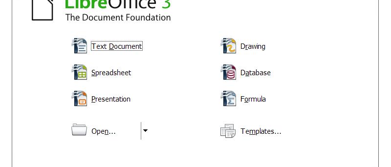 LibreOffice 3.3.0 beta úvodní obrazovka