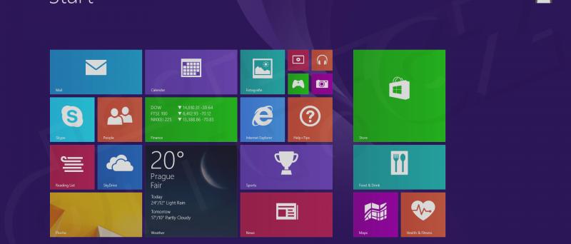 Windows 8.1 Pro - obrazovka Start