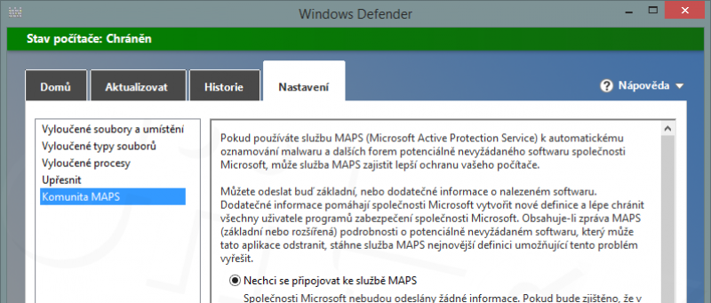 Windows RT 8.1 - Windows Defender - nastavení