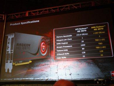Prezentace AMD Radeonů HD 6900: Radeon HD 6970 - neúplná specifikace