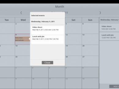 Intel Tablet User Experience - kalendář