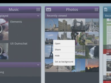 Intel Tablet User Experience - panel s fotkami
