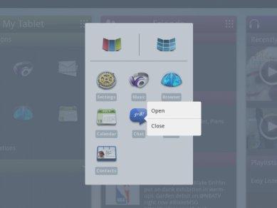 Intel Tablet User Experience - kontextové menu přepínače úloh