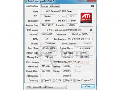 AFOX Radeon HD 7850 768 SP GPU-Z