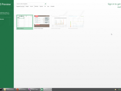 Office 2013 Preview - Excel (spuštění)