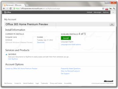 Správa aktivace instalací Office 365 Home Premium Preview