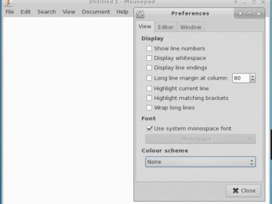 Xfce 412 Mousepad Prefs