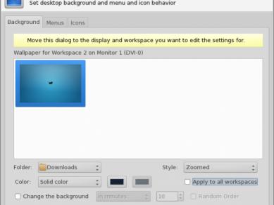 Xfce 412 Xfdesktop Properties Multiworkspace