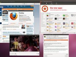 Ubuntu 11.10 beta 2, plocha, Firefox, ovladače, Centrum softwaru, přehrávač videí