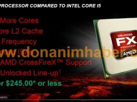 Slajd z uniklé prezentace k uvedení AMD FX: AMD FX Processor Compared to Intel Core i5