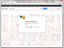 Google v angličtině - hledání v obrázcích - upozornění před vstupem na explicitní obsah