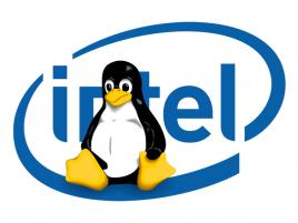 Intel logo Linux Tux