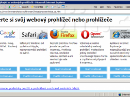 Výběr prohlížeče (ballot screen) v češtině