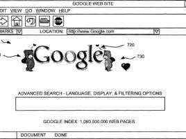 Ukázka patentu Google 7,912,915 na upravená loga