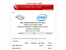 SSDLife - Intel SSD 320 Series 40 GB - Bad drive health